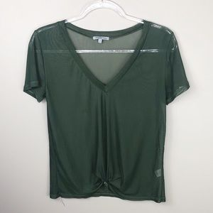 Charlotte Russe Olive Green Mesh Knot Front Top